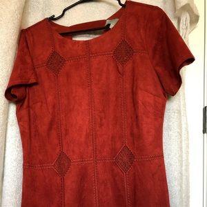 Velvet, short sleeve shift dress.